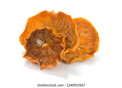 Dried persimmon or Kaki Fruit slices isolated on white background.