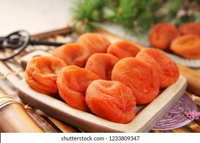 Dried persimmon on a plate