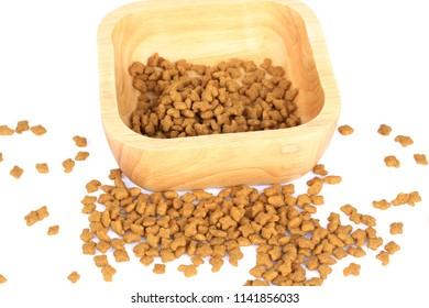 Dried pet food of many colors on white background