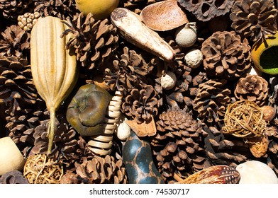 Dried pine cones and other ornamental decor assembled