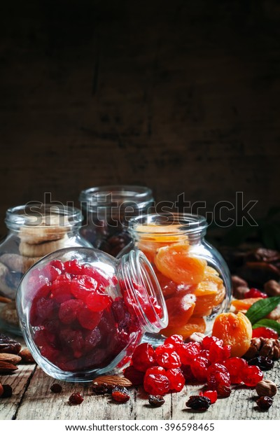 Dried pink cherry, healthy food, selective focus