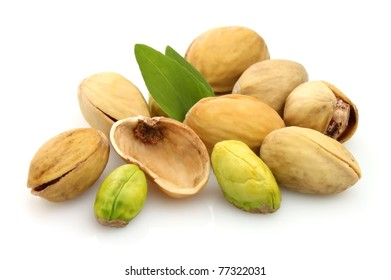 Dried pistachios with life on a white background