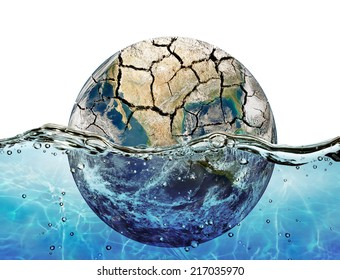 """Dried up planet immersed in the waters of world ocean """"Elements of this image furnished by NASA"""""""