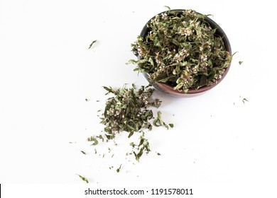 Dried plants and leaves for herbal teas and medicinal purposes.