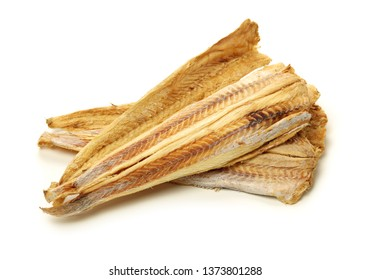 Dried Pollack on the white background