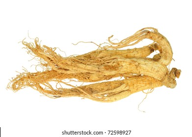 Dried Preserved Wild Ginseng Roots Isolated On White Background