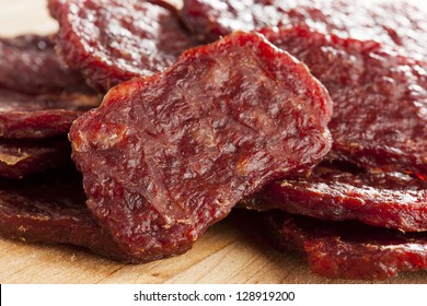 Dried Processed Beef Jerky against a background