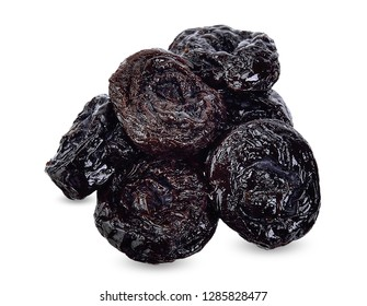 Dried prune isolated on white with clipping path