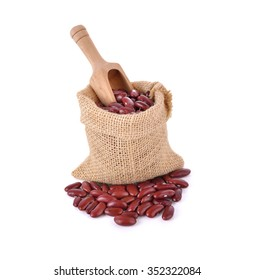 dried red bean in sack on white background