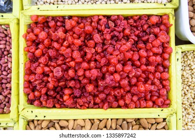 a dried red cranberries background, horisontal