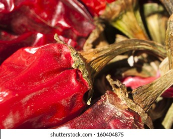 Dried red hot chili peppers. A staple of many Mexican dishes.