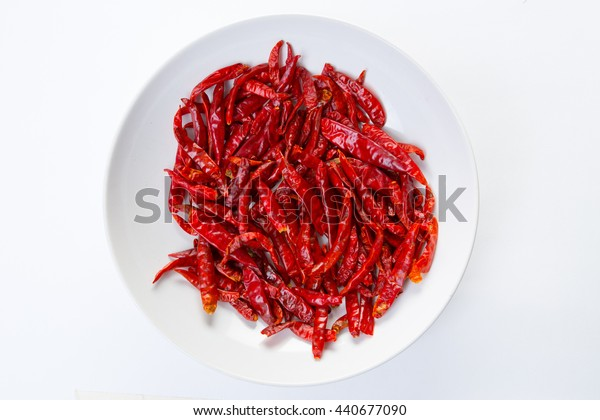 Dried red pepper chili in a pile