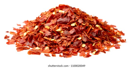 dried red pepper flakes isolated on white
