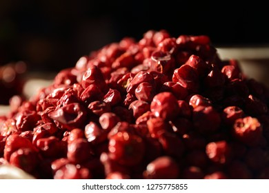 Dried red round chilli in market, red pepers