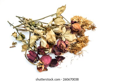 Dried roses and chrysanthemums flowers isolated on white background