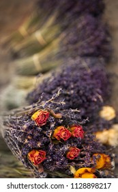 Dried roses and lavender on a market stall in Provence