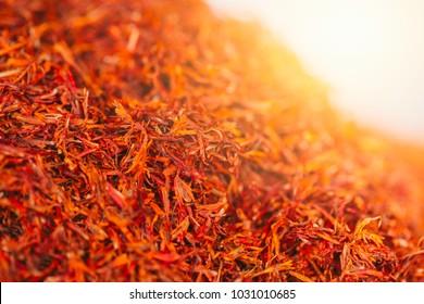 Dried Safflower flower herb closeup