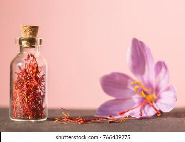 Dried saffron spice  in a bottle and Saffron flower, in pink background