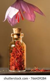 Dried saffron spice  in a bottle and Saffron flower, vertical format