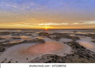 Dried Salt Marsh Colors in San Francisco South Bay. Alviso Marina County Park, Santa Clara County, California, USA.