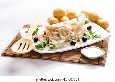 dried salted cod, codfish and frayed codfish