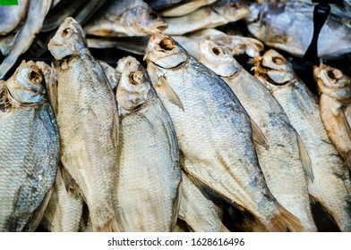 Dried salted perch fish close up, stockfish dried fish, traditional gourmet beer snack