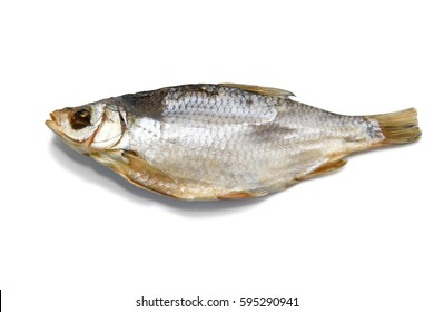 Dried sea roach fish isolated on the white background