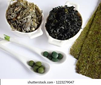 Dried seaweed: nori, wakame, kelp, spirulina, chlorella. Superfood. Healthy food