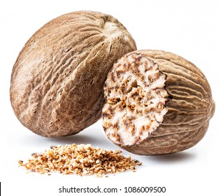Dried seeds of fragrant nutmeg and grated nutmeg  isolated on white background.