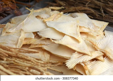 Dried shark fin food ingredient at shop in Chinese market