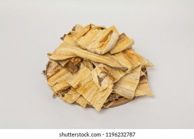 Dried shredded pollack on a white background