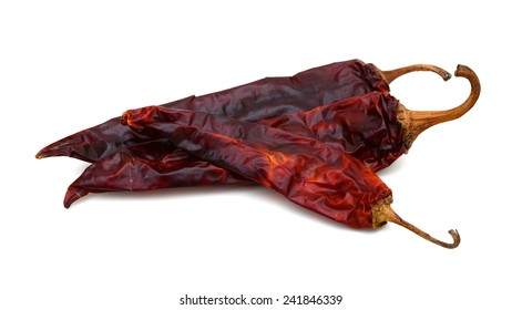 Dried Spicy Chili Peppers isolated on white background