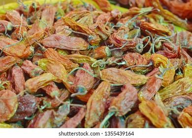 Dried spicy peruvian pepper called aji amarillo.