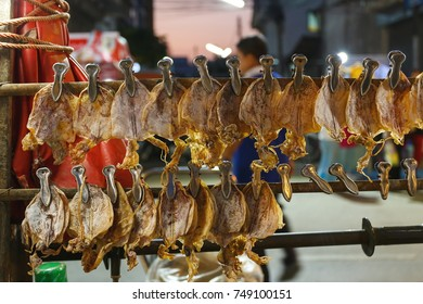 Dried squid grill roasted  thai market.