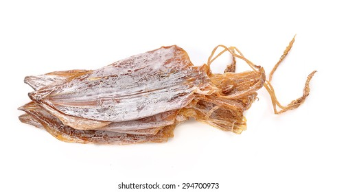 Dried squid on white background