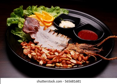 Dried squid with peanut - Korean Tapas