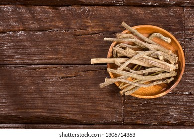 Dried stems of valerian - Valeriana officinalis. Text space