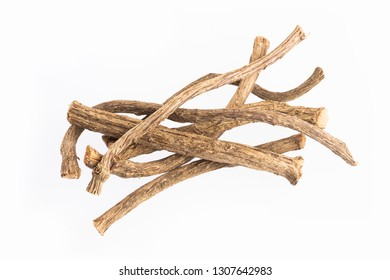 Dried stems of valerian - Valeriana officinalis. White background
