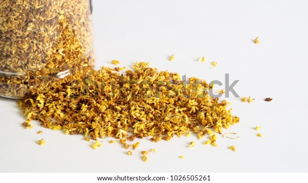 Dried sweet-scented osmanthus on white background