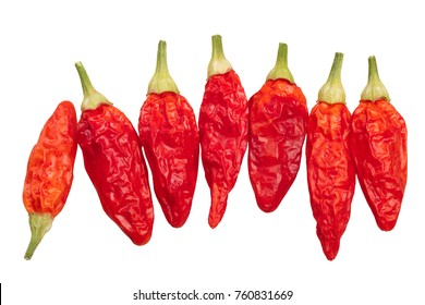 Dried Tabasco chile peppers (Capsicum frutescens pods). Top view, clipping paths