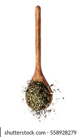 Dried Thyme Herbs with Leafs and Stems in Wooden Spoon isolated on White background