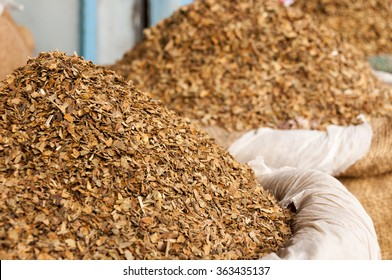 Dried tobacco leaves at the indian market