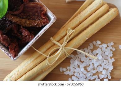 dried tomatoes, italian food, italian snacks, salty sticks,