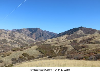 The dried up, desert like landscape of the Wasatch mountains awaits the first snows of the winter by late October near Salt Lake City, Utah