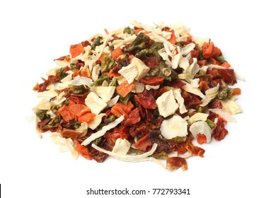 Dried vegetable mix on white background