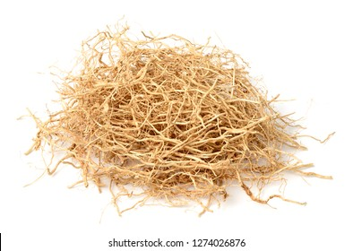 dried vetiver roots isolated on the white background