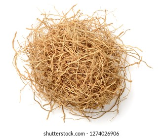 dried vetiver roots isolated on the white background, top view