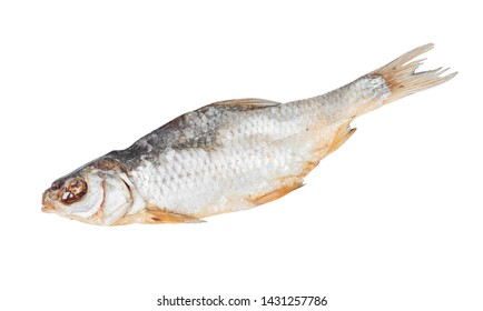 Dried vobla fish isolated on white background