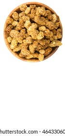 Dried white mulberries in wooden bowl over white background