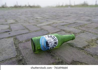DRIEL, NETHERLANDS - NOVEMBER 26, 2016: Empty beer bottle. Brouwers Pilsener is a Dutch pils beer that has been brought to market by Albert Heijn since 2016. The beer is brewed by Bavaria.
